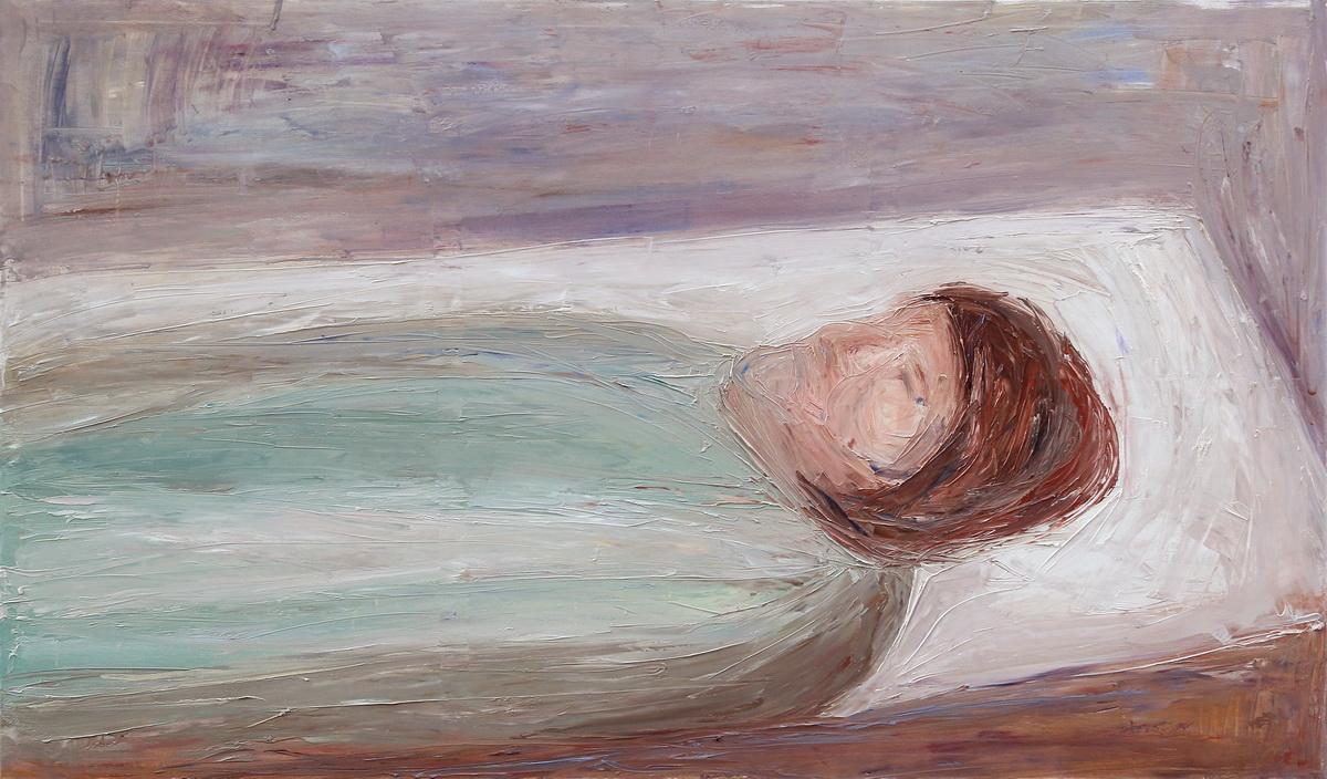 Wrobel-Kruczenkow Malgorzata, Z cyklu Obrazy Intymne, Matka (Odejscie), 120 x 200 cm, olej na plotnie, 2014.jpg_resize